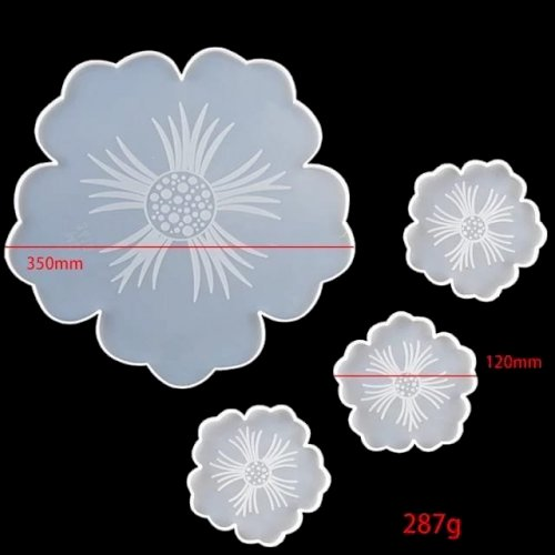 Flower Mold with Engraving + Coaster