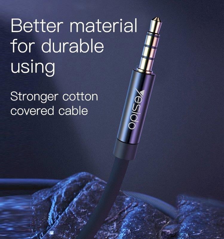 كيبل ناقل الصوت يسيدو YAU14 من AUX 3.5MM الى AUX 3.5MM بطول 1 متر -أسود